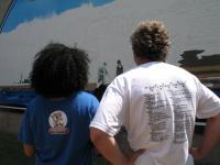 Steve Lane discuss his design on MLK Park with a volunteer