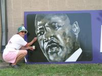 Artist Dawn Lane completes Dr. King\'s portrait