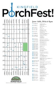 Kingfield PorchFest 2016 Map